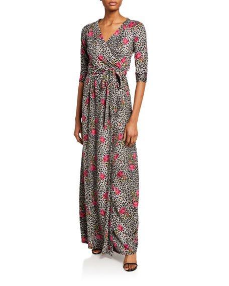 Plus Size Floral Animal Print Long Brushed Sweater Knit Wrap Dress