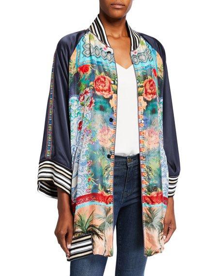 Plus Size Tropical Reversible Button-Front Kimono