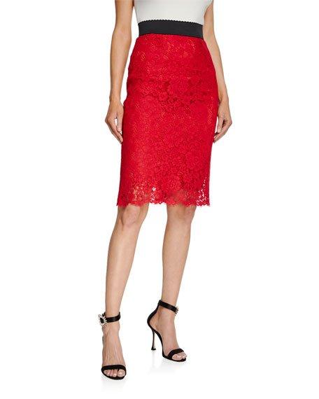 Cordonetto Lace Pencil Skirt