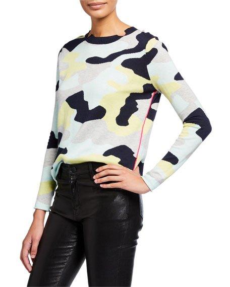 Petite Summer Camo Long-Sleeve Sweater