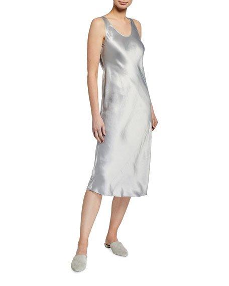Satin Scoop-Neck Midi Dress