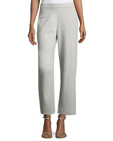 Petite Stretch-Interlock Ankle Casual Pants