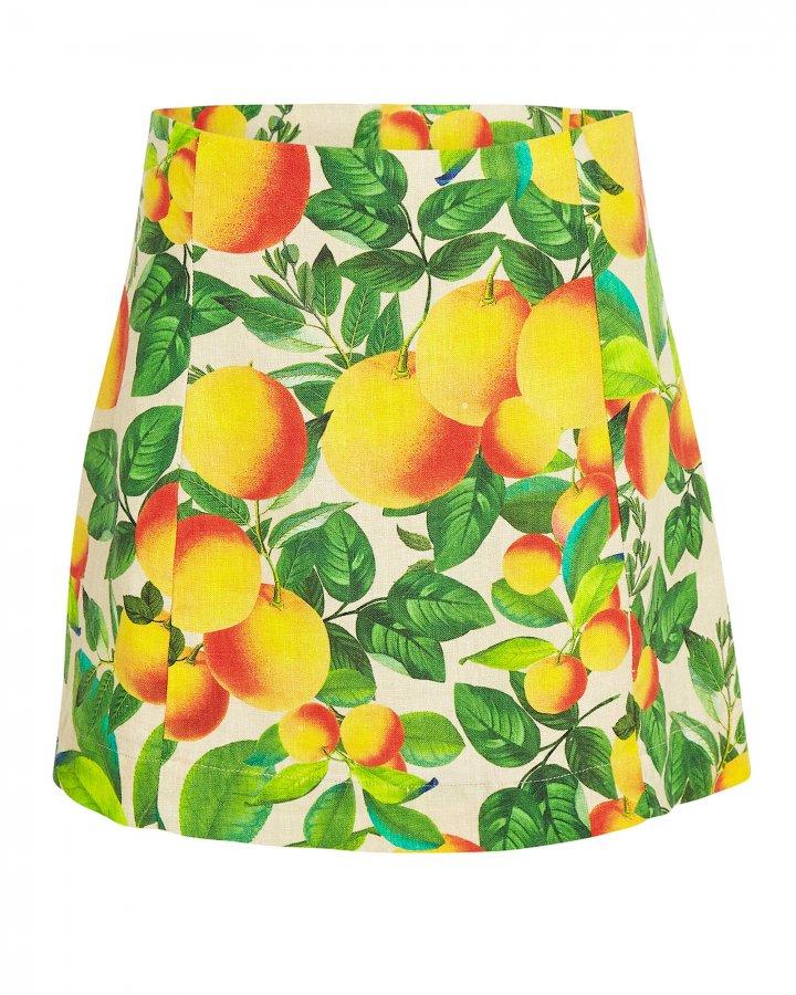 Orange Sands Linen Mini Skirt
