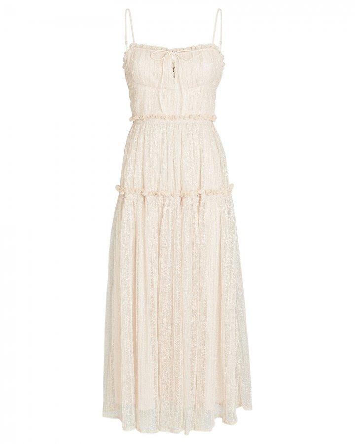 Ivy Smocked Lace Midi Dress