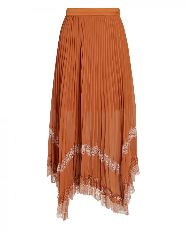Lace-Trimmed Pleated Midi Skirt