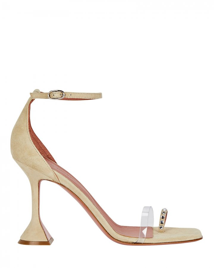 Oya PVC-Trimmed Suede Sandals