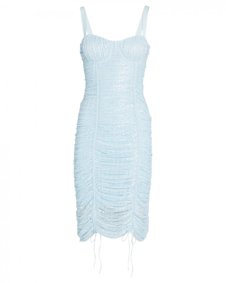 Naia Ruched Lace Midi Dress