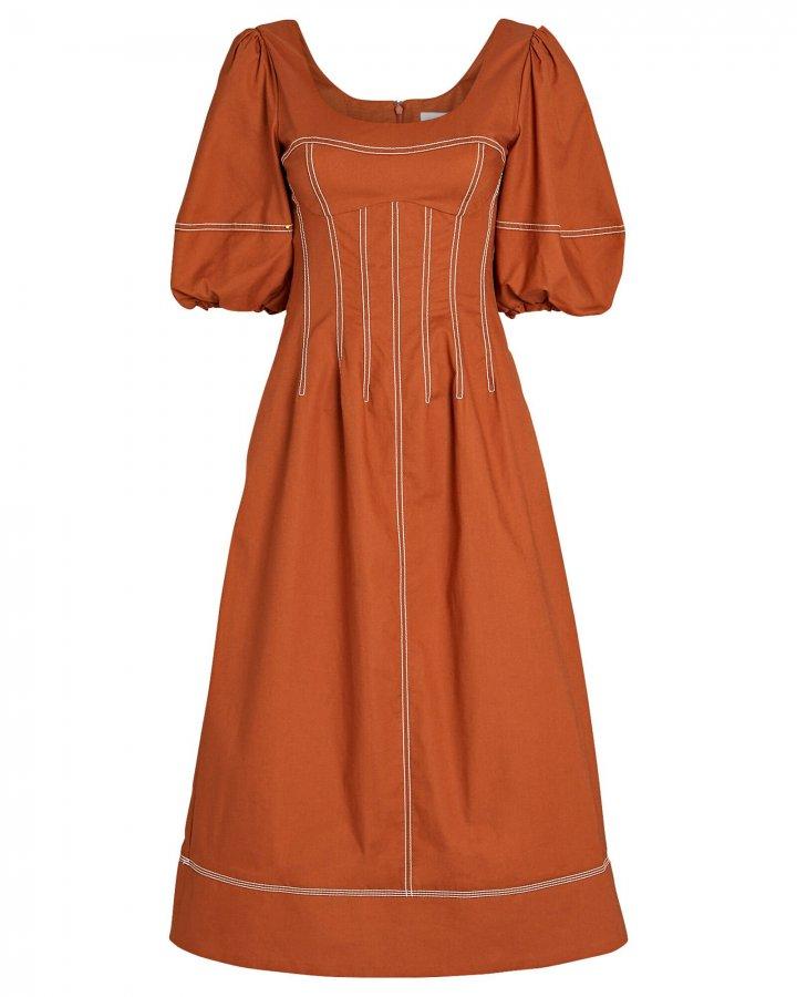 Lena Puff Sleeve Midi Dress