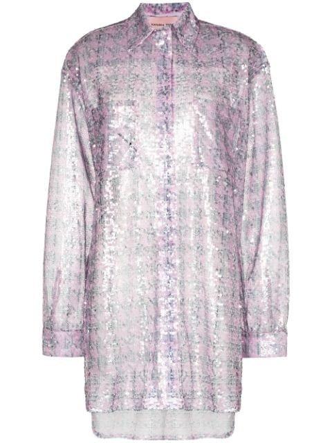 Natasha Zinko Sequinned Houndstooth-Print Shirt Aw20 | Farfetch.Com