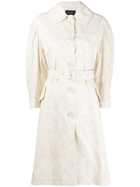 Simone Rocha Tonal-Embroidered Belted Coat Ss20 | Farfetch.Com