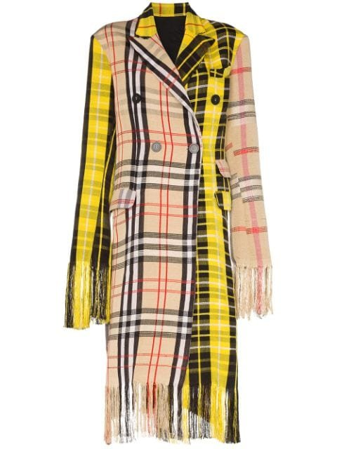Kenneth Ize Yaba Fringed Checked Coat Ss20 | Farfetch.Com