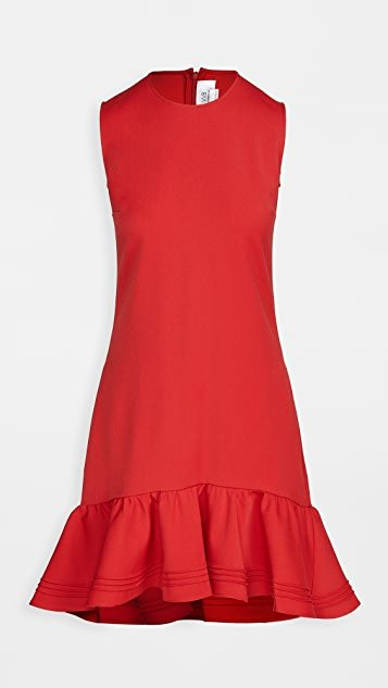 Pintuck Flounce Hem Shift Dress