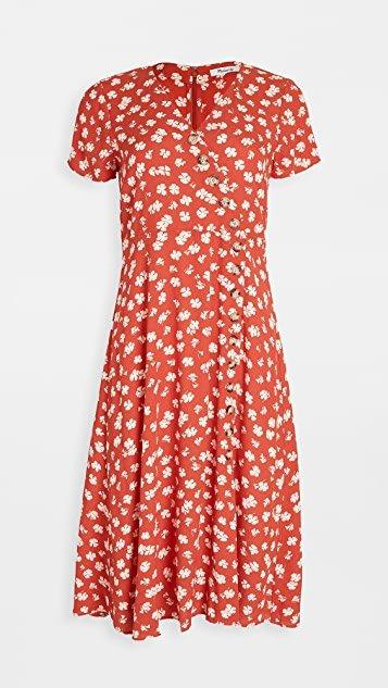 Button Wrap Midi Dress