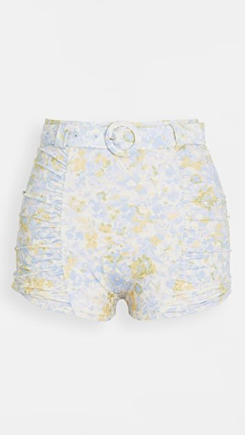 Forget Me Not Ruched Belted Swim Shorts