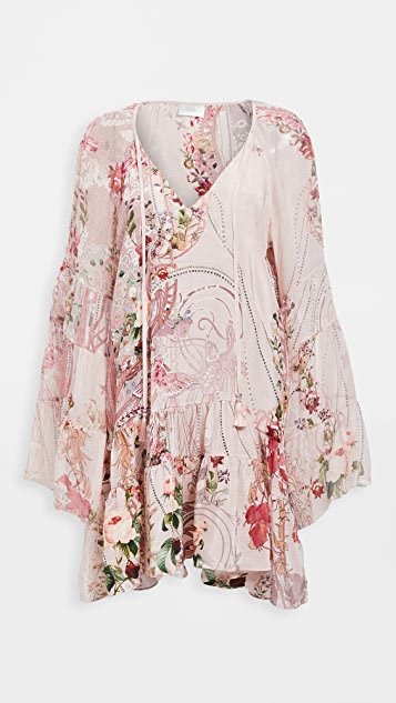 A-line Gathered Panel Silk Dress