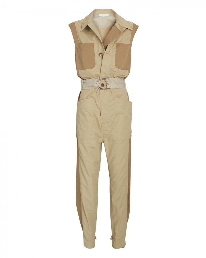 Tonal Blocked Sleeveless Jumpsuit