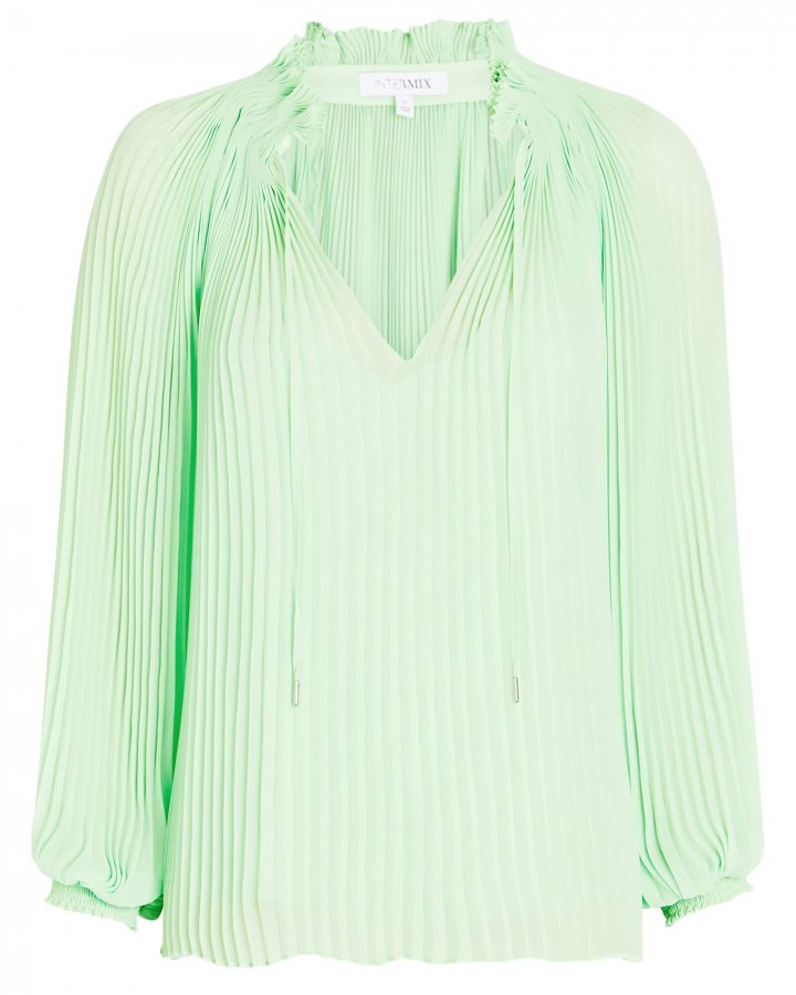 Paulette Pleated Chiffon Blouse