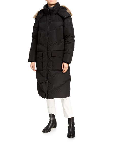 Logo Long Parka w/ Fur-Trim Hood