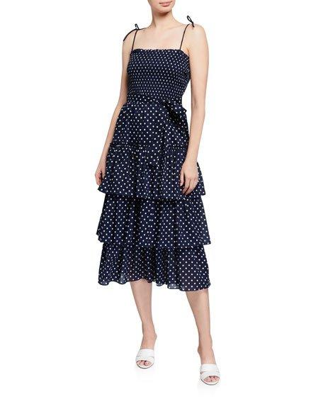 Smocked Polka Dot Tiered Midi Dress