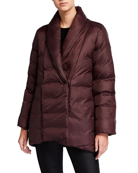 Recycled Nylon High-Collar Puffer Coat