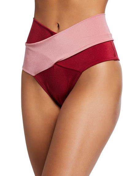 Lucette Wrap-Front High-Waist Bikini Swim Bottoms