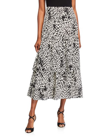 Zia Cheetah Print Tiered Silk Skirt