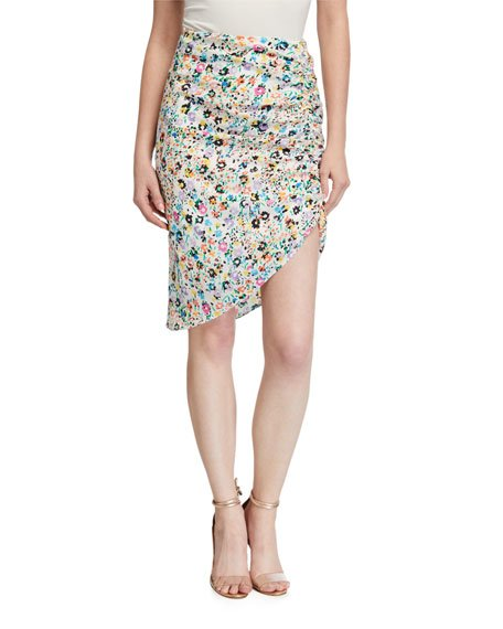 Benny Wildflower Print Asymmetrical Silk Skirt