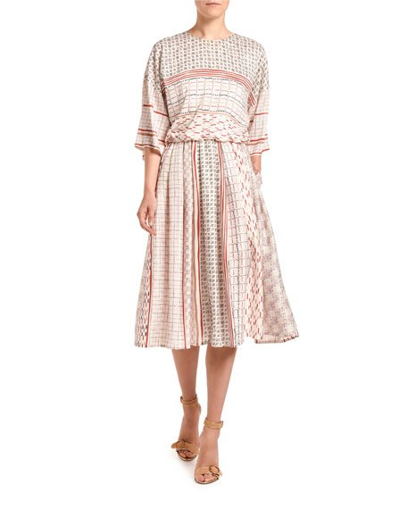 Foulard-Print Short-Sleeve Dress