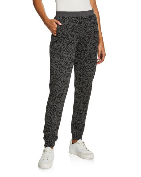 French Terry Animal-Print Pull-On Pants