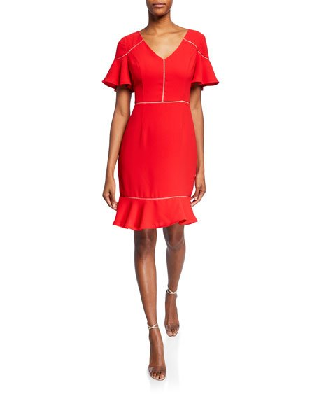 V-Neck Short-Sleeve Crepe Flounce Dress