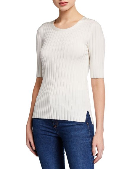 Dillon Ribbed Short-Sleeve Sweater