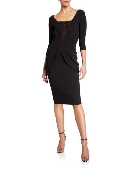 Long-Sleeve V-Neck Dress w/ Inset Illusion
