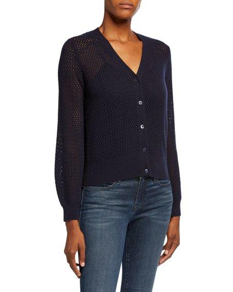Cashmere Button-Front Open Stitch Blouson Sleeve Cardigan