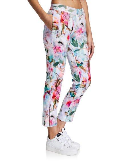 Digital Floral Print Crop Pants
