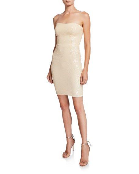 Cindy Sequin Strapless Bustier Cocktail Dress