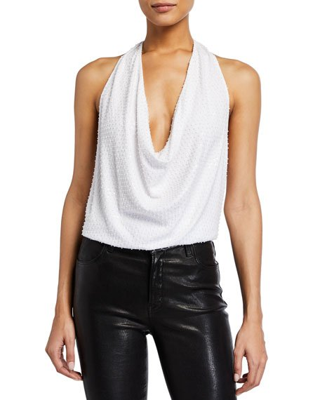 Rochelle Draped-Neck Halter Top