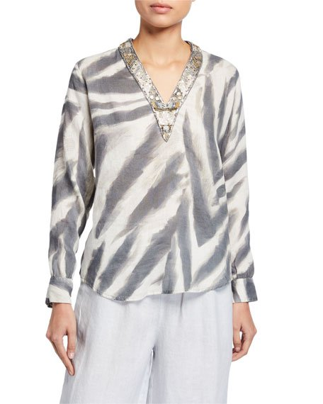 Embellished V-Neck Long-Sleeve Zebra-Print Top