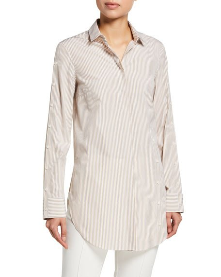 Striped Poplin Button-Sleeve Tunic