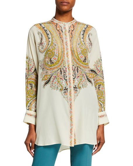 Silk Engineered Paisley Tunic