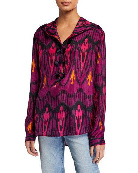 Ciara Ikat-Print Silk Hooded Tunic