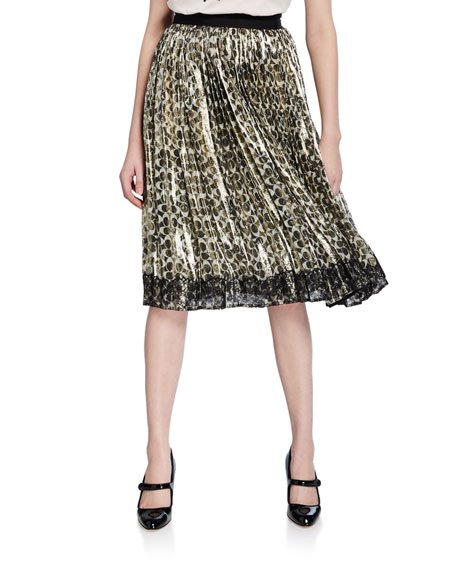 Metallic Pleated Logo-Print Skirt