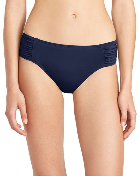 Pearl Side Shirred Bikini Swim Bottoms