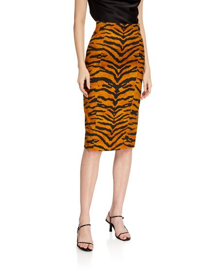 Tiger Striped Pencil Skirt
