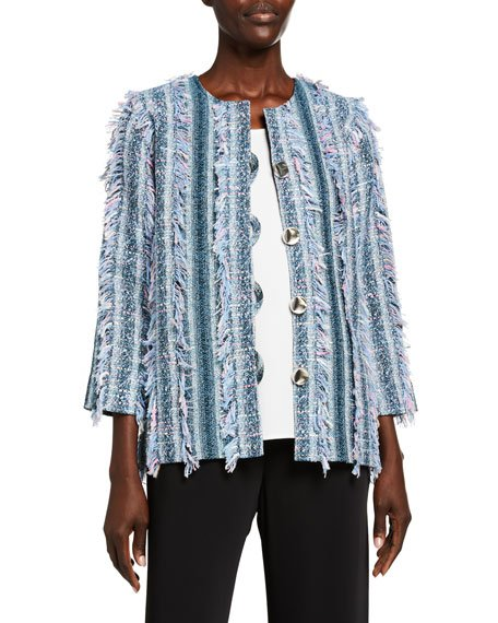 Plus Size Flirty Fringe-Trim Boxy Tweed Jacket