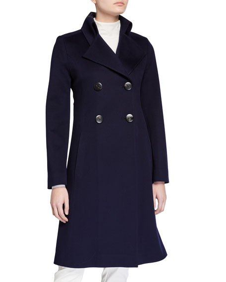 Notch-Collar Double-Breasted Wool Coat