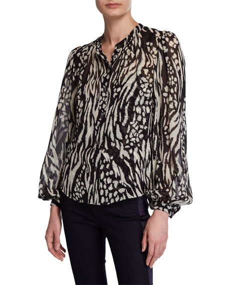 Ashlynn Ikat Animal-Print Silk Button-Down Blouse