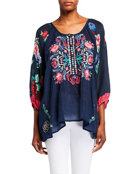 Rosey Embroidered Floral Print Blouse