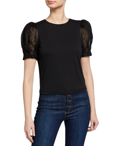 Posey Darted Puff-Sleeve Tee