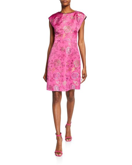 Brocade Cap-Sleeve Cocktail Dress