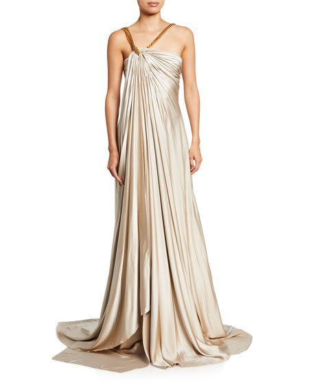 Gathered Asymmetric Chain Strap Satin Gown